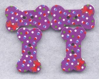 Dog Bones Wood Buttons Purple Wooden Buttons 27mm (1 1/8 inch) Set of 4 /BT254E