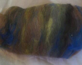Alpaca Wool Blend Batt Spinning Fiber Rusty Brown Green Blue 1.8 ounces B007