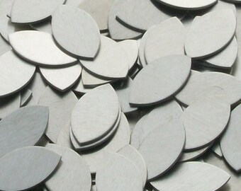 Aluminum Football / Eye / Leaf / Rugby Ball Shape - 14 Gauge, stamping blanks, metal blanks, leaf oval