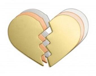 "Copper Broken Heart - 1"" x 24 gauge - Qty 3 Sets, stamping blanks, metal blanks, Impress Art, shape blanks, heart, supply, supplies"