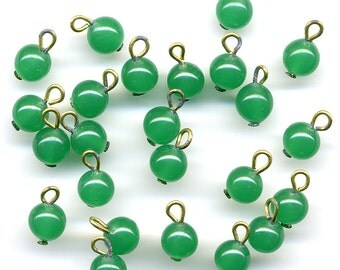 Vintage 6mm Green Beads Jade Tone Semi Translucent Drops on Head Pins with Wire Loops 24 Pcs. Japan