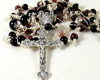 Tourmaline Rosary Miraculous Medal Purple Trinity Eucharist Crucifix Wire Wrapped Unbreakable Prayer Beads