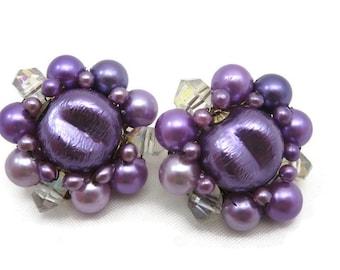 Beaded Clip Earrings - Purple, Japan, Costume Jewelry