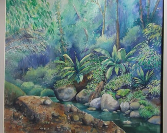 Original Watercolour Painting - Rainforest, St. Lucia