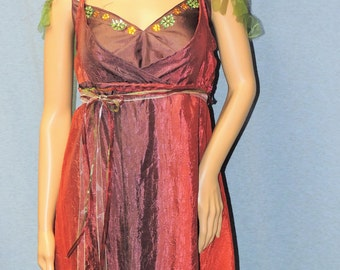 Rust Purple Green Fringed Fairy Dress