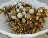 14 Needle Felted Acorns Winter White with Metallic Gold Caps & 8 Gold Pine Cones Nature Home Decor