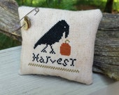 Completed Cross Stitch Primitive Crow & Pumpkin Harvest Cupboard Tuck Pillow