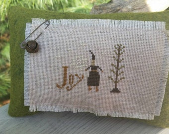Primitive Santa Pillow Cross Stitch with Feather Tree & Snow Flakes Ready to Ship!