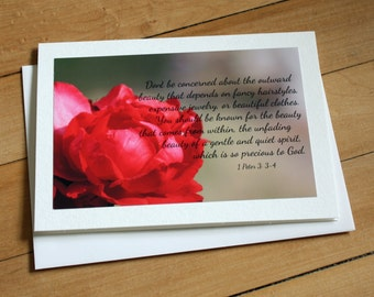 Handmade Greeting Card with 1 Peter 3: 3-4
