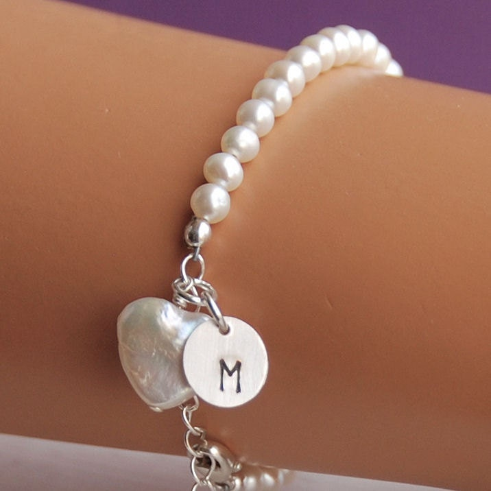 pearl bracelet initial charm flower by herecomesthebride