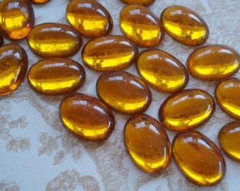 Vintage 14x10mm Topaz/Amber Gold Foiled Flat Back Oval Glass Cabs or Stones (6 pieces)