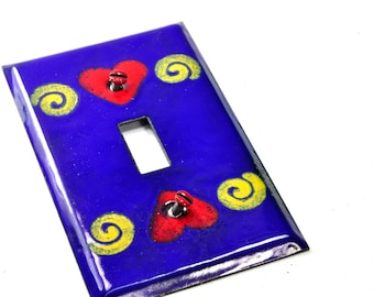 Free Shipping! Ready to Ship! Heart and swirls Handmade Enameled Light Switch Plate Cover Industrial Pop Art