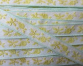 Italy 2 Yards Vintage Cotton Edging Embroidered Folkloric Fabric Sewing Trim Yellow And Green  FL-56