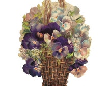Germany Large Single Lithographed Die Cut Paper Scrap Victorian Pansy Sweet Pea Bouquet 5135 Basket