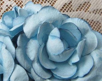 Paper Flowers 12 Sweet Millinery Roses Flowers In Sky Blue