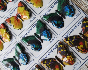 Vintage Japan Original Metal 12 Tin Butterfly Pins Colorful and Mint Condition 1960s On Original Card