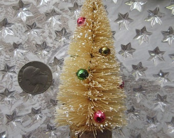 Ivory Bottle Brush Christmas Tree 4 Inch Tall Miniature Decorated With Vintage Mercury Glass Beads