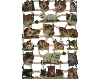 German Paper Scraps Lithographed Die Cut Victorian Cats  7329