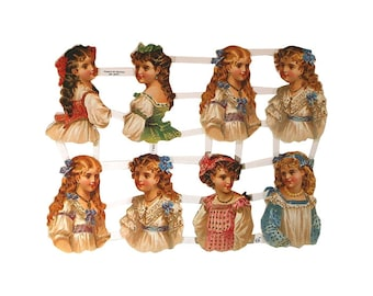 Germany Paper Scraps Lithographed Die Cut Victorian Children  7100