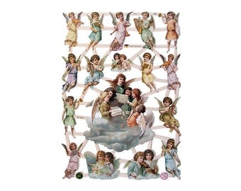 Germany Paper Scraps Lithographed Victorian Angels Die Cuts  7370