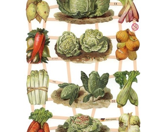 Germany Paper Scraps Lithographed Die Cut Victorian Vegetables  7383