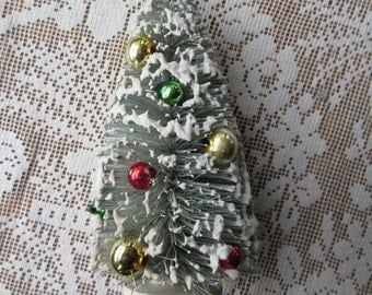 Bottle Brush Christmas Tree 5 Inch Tall Faded Vintage Mercury Glass Beads