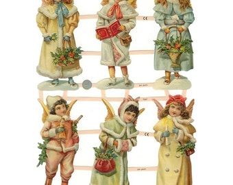Germany Paper Scraps Lithographed Die Cut Victorian Pastel Christmas Angels  7347