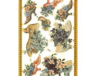 England Paper Scraps Lithograph Die Cut Shoe Bouquets  A-172