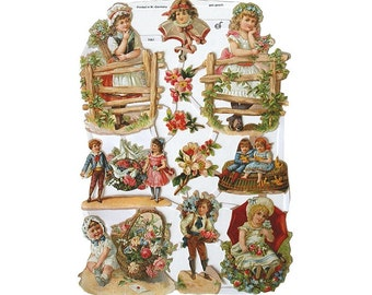 Germany Paper Lithographed Die Cut Scraps Victorian Children  7061