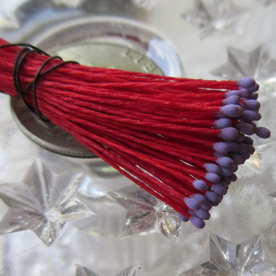 Millinery Flower Stamen Made In Germany Flower Peps 100 Stems Red And Purple  86-10