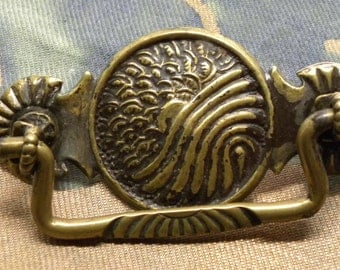 One (1) Very Ornate Antique Chocolate Brass Repousse DRAWER Cabinet PULL Hardware Japanese Asian Meiji Water Sun Clouds Motif