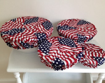 Reusable Bowl Covers Picnic Patriotic American Flag Americana USA Red, White, Blue Fabric (Set of 4)