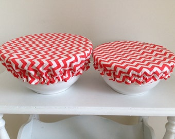 Fabric Food Bowl Reusable Lid Cover Bright Environmental Chevron Coral (2 Pieces)