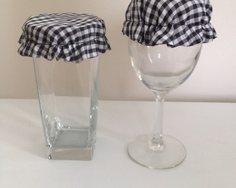 Reusable Elastic Drink Cup Glass Cloth Coaster Cover Cozies Black White Gingham