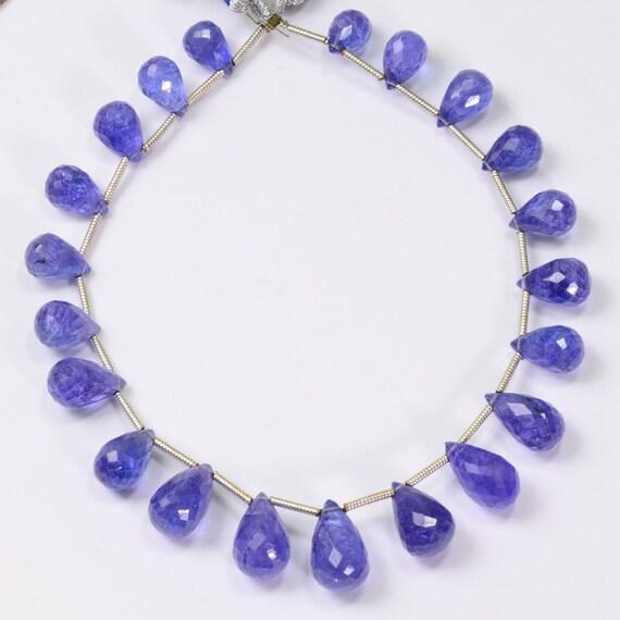 Teardrop Tanzanite: 78.4CT Tanzanite Faceted Full Teardrop Briolettes Beads 8 Inch