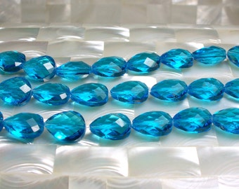 8pcs 15mm Puffed Teardrop Glass Beads Chinese Crystal Aqua Blue Color Strand Jewelry Jewellery Craft Supplies