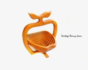 Folding Fruit Basket, Handmade Wood Apple