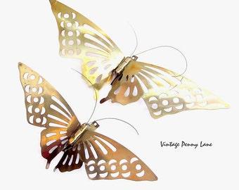 Vintage Brass Butterfly / Butterflies Wall Art Hanging