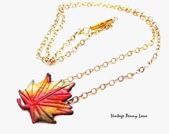 Vintage Gold Chain Necklace, Leather Maple Leaf Pendant