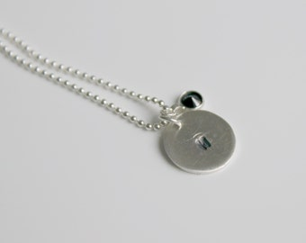 Personalized Initial Disc Necklace Cz Birthstone Necklace Dainty Necklace, Mom