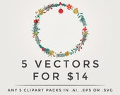 Vector clipart - .eps or .ai digital clip art pack, any 5 five clipart set in vector format, digital designs, vectorized discount save