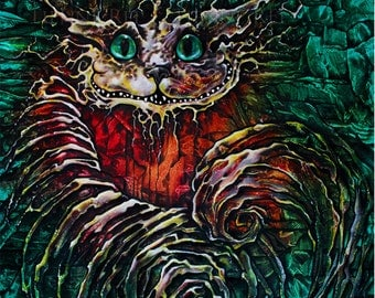 "Print of Cheshire Cat  from Alice in Wonderland entitled ""Not All There"" by artist Tienne Rei without mat"