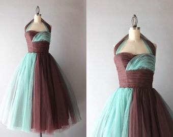 1950s Party Dress / Vintage 50s Grecian Tulle Formal / Chocolate and Turquoise Strapless Halter Dress