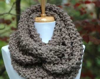 Barley Brown Knit Scarf, Chunky Scarf, Hand Knit Infinity Scarf, Women Scarves, Knitted Neckwarmer
