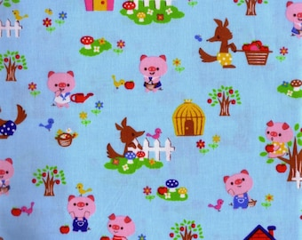 Half Yard Japanese Cotton Fabric 3 Three Little Pigs Wolf Nursery Tales 4 colors to choose