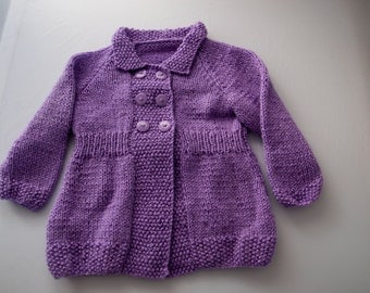 Handknitted Cardigan in Purple to fit 12 month old child