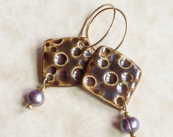Brassy Dots Porcelain and Pearl Earrings