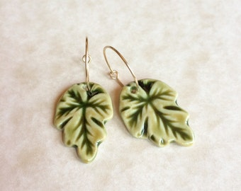 Leaves of Green Porcelain Earrings-Green Leaf Earrings-Leaf Shaped Porcelain-Handmade Porcelain Jewelry-Leaf Dangle Earrings-Ceramic Leaves