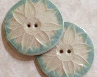 Peachy Sage Flower Porcelain Buttons
