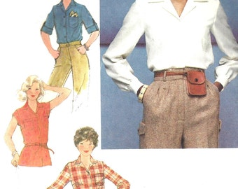 1970s Blouse Pattern Shirt Top Vintage Simplicity Sewing Women's Misses Size 10 Bust 32 .5 Inches